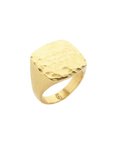 Degs And Sal Goldplated Sterling Silver Square Hammered Ring-GOLD-One Size