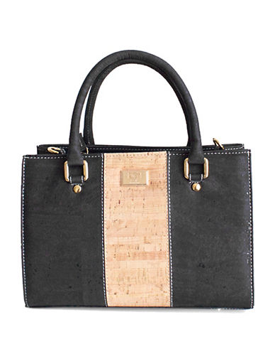 Rok Cork Carolyna Satchel-BLACK/NATURAL-One Size