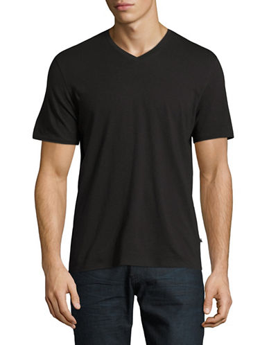 Black Brown 1826 Pima Cotton Jersey V-Neck T-Shirt-BLACK-Medium