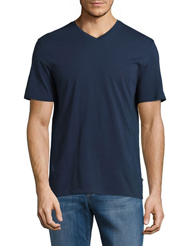 Black Brown 1826 Pima Cotton Jersey V-Neck T-Shirt-BLUE-X-Large