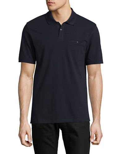 Black Brown 1826 Cotton Pique Short Sleeve Polo-BLUE-X-Large