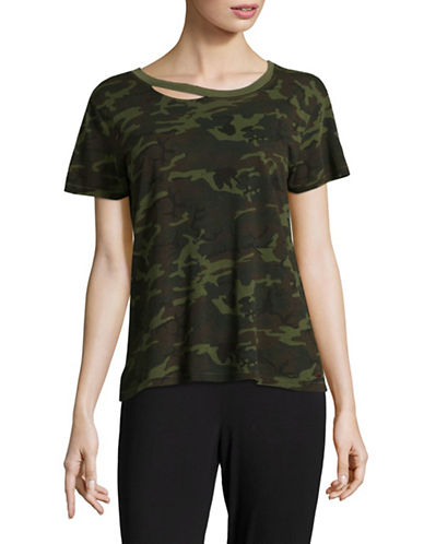 Philanthropy Distressed Camo T-Shirt-GREEN-X-Small