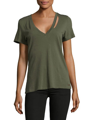 Philanthropy Studded V-Neck T-Shirt-GREEN-Large