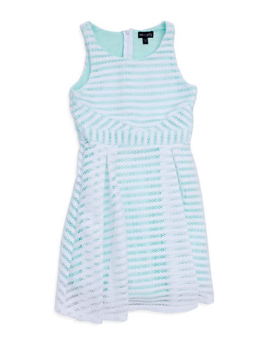 Ava & Yelly Bubble Stripe Skater Dress-WHITE/BLUE-14