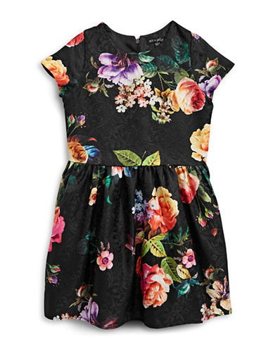 Ava & Yelly Floral Print Brocade Dress-BLACK-10