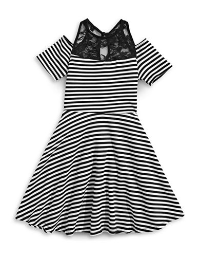 Ava & Yelly Striped Lace A-Line Dress-BLACK-14