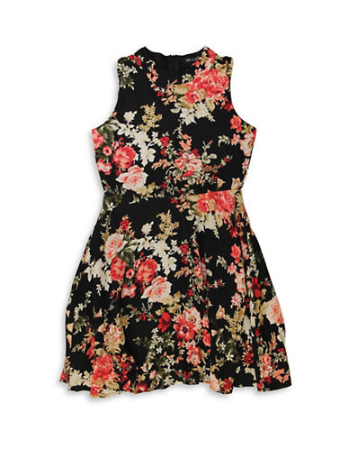 Ava & Yelly Floral Skater Dress-BLACK-10