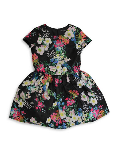 Ava & Yelly Drop Waist Floral Party Dress-BLACK-14