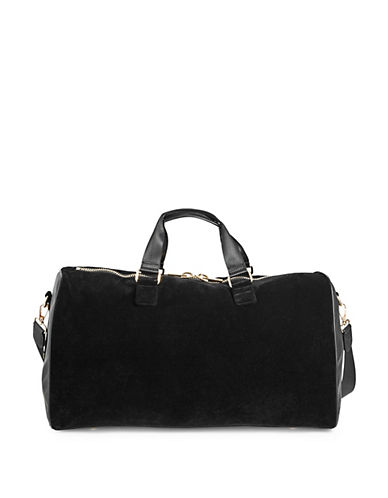Stoney Clover Lane Zip Velvet Duffel Bag-BLACK-One Size