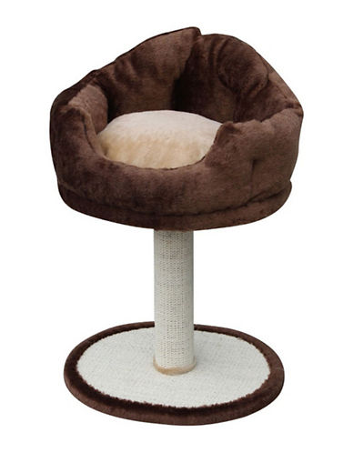 Petpals Nook Fleece Bed and Post-BROWN-One Size