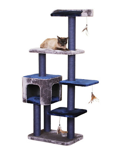 Petpals Midnight Molly Five Level Cat House-BLUE-One Size
