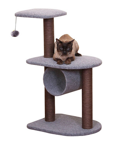 Petpals Teeny Cat House with Toys-GREY-One Size