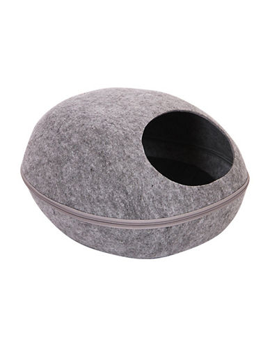 Petpals Smoky Pod Felt Bed with Cover-GREY-One Size