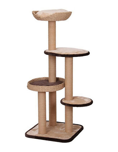 Petpals Treehouse Natural Wood Cat Tree-BROWN-One Size