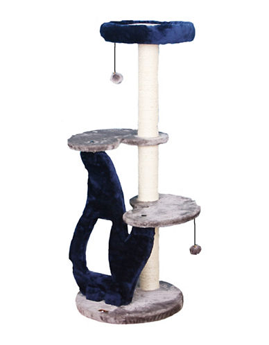 Petpals Tuggy Three-Level Cat Tree-BLUE-One Size