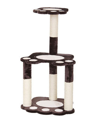 Petpals Footnote Fleece Two-Level Cat Tree-BEIGE-One Size