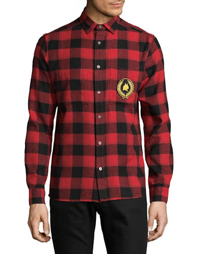 Shwdbx Buffalo Checkered Sport Shirt-RED-X-Large