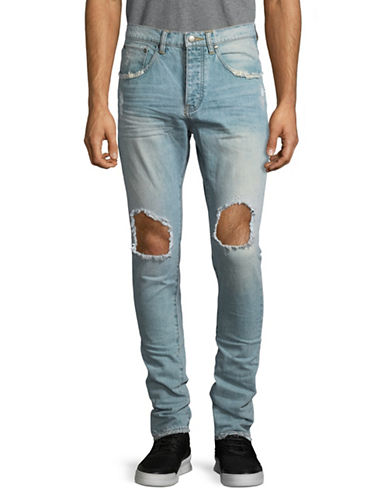 Shwdbx Slim-Fit Distressed Cotton Jeans-BLUE-36
