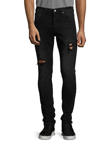 Shwdbx Slim-Fit Distressed Cotton Jeans-BLACK-30
