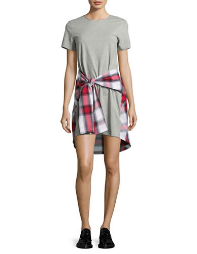Design Lab Lord & Taylor Plaid Tie Waist Shift Dress-GREY-Small