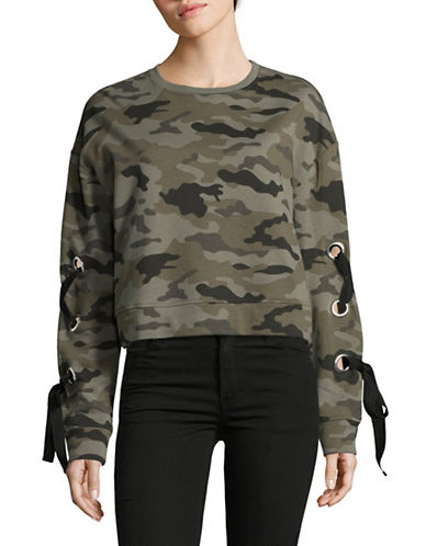 Design Lab Lord & Taylor Crop Lace-Up Sweatshirt-CAMO-Large