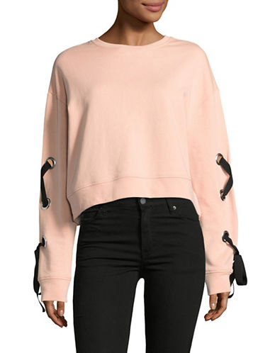 Design Lab Lord & Taylor Crop Lace-Up Sweatshirt-PINK-Large