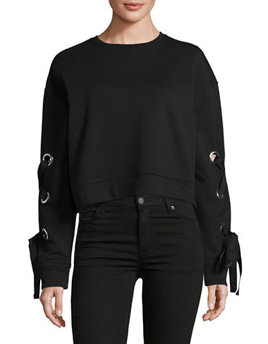 Design Lab Lord & Taylor Crop Lace-Up Sweatshirt-BLACK-Medium