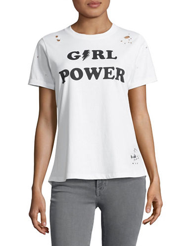 Prince Peter Collections Girl Power Distressed Cotton Tee-WHITE/BLACK-Large