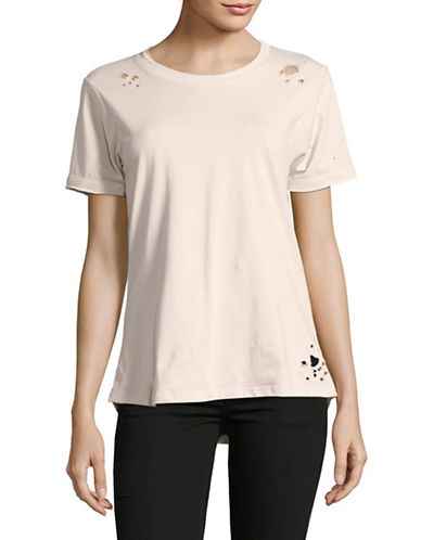 Prince Peter Collections Distressed Short Sleeve Cotton T-Shirt-DUSTY ROSE-X-Small