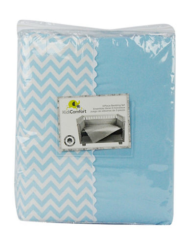 Kidicomfort Three-Piece Chevron Comforter, Fitted Sheet and Dust Ruffle Bedding Set-BLUE-One Size
