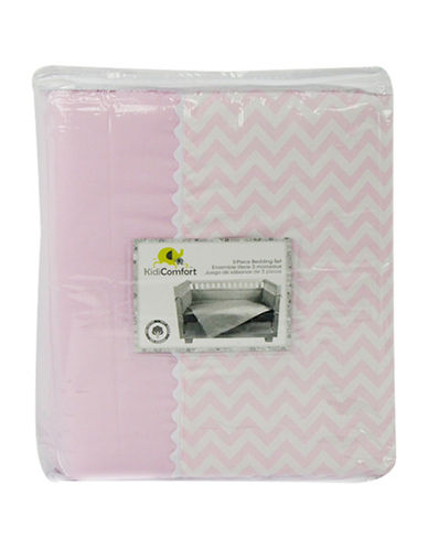 Kidicomfort Three-Piece Chevron Comforter, Fitted Sheet and Dust Ruffle Bedding Set-PINK-One Size