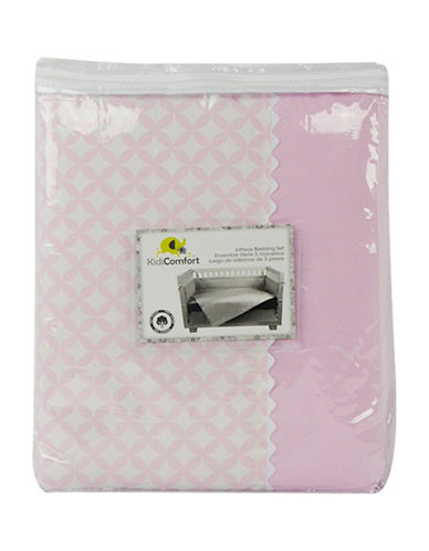 Kidicomfort Three-Piece Diamond Comforter, Fitted Sheet and Dust Ruffle Bedding Set-PINK-One Size