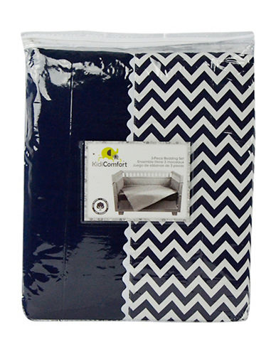 Kidicomfort Three-Piece Chevron Comforter, Fitted Sheet and Dust Ruffle Bedding Set-NAVY-One Size