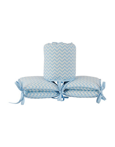 Kidicomfort Four-Piece Chevron Bumper Pad Set-BLUE-One Size