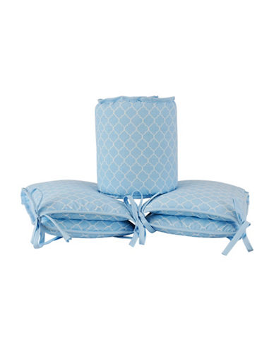 Kidicomfort Four-Piece Quatrefoil Bumper Pad Set-BLUE-One Size