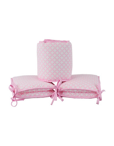 Kidicomfort Four-Piece Diamond Bumper Pad Set-PINK-One Size