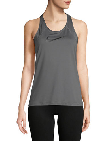 Nike Racerback Mesh Tank Top-GREY/BLACK-X-Large
