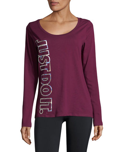Nike Metallic Graphic Cotton Tee-WINE-Medium