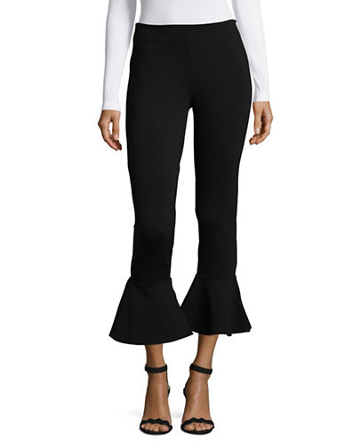 Design Lab Lord & Taylor Ruffle-Trim Pants-BLACK-Medium