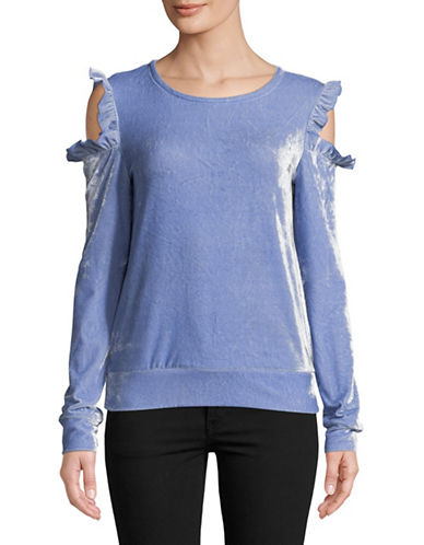 Design Lab Lord & Taylor Ruffled Cold-Shoulder Velvet Sweater-BLUE-X-Small