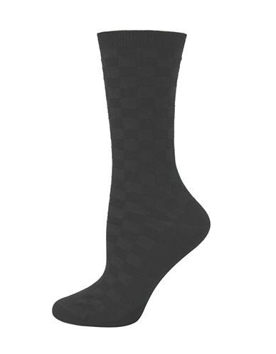 Point Zero Basketweave Links Crew Socks-BLACK-One Size