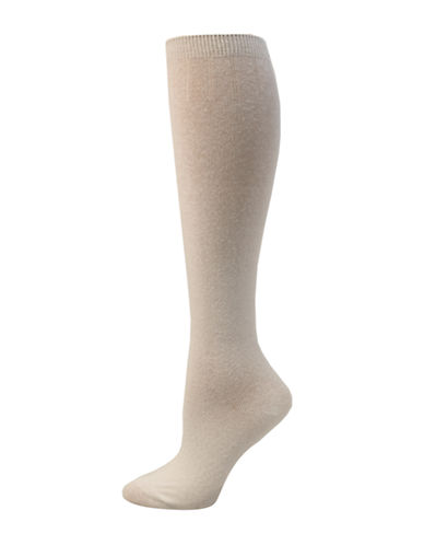 Point Zero Basic Knee-High Socks-WHITE-One Size