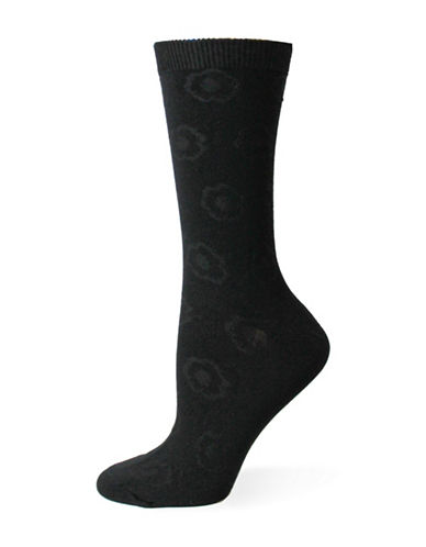 Point Zero Tonal Floral Crew Socks-BLACK-One Size