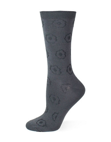 Point Zero Tonal Floral Crew Socks-GREY-One Size