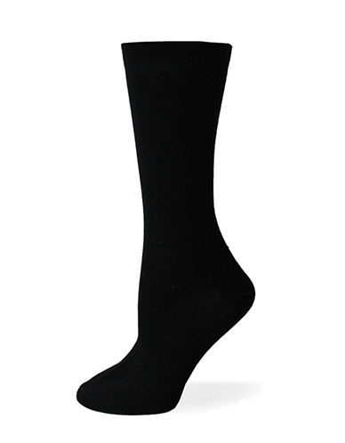 Point Zero Plain Crew Socks-BLACK-One Size