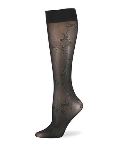 Point Zero Floral Trouser Socks-BLACK-One Size