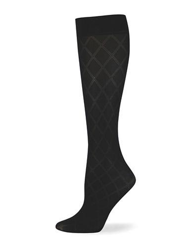 Point Zero Argyle Trouser Socks-BLACK-One Size