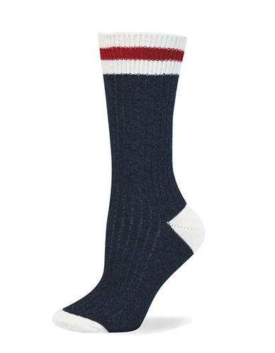 Point Zero Cottage Crew Socks-BLUE-One Size