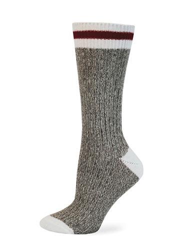 Point Zero Cottage Crew Socks-BROWN-One Size