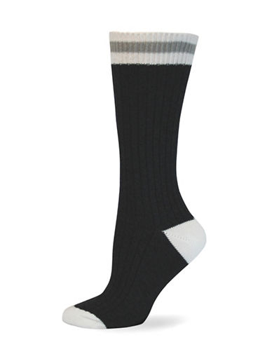 Point Zero Cottage Crew Socks-BEIGE-One Size